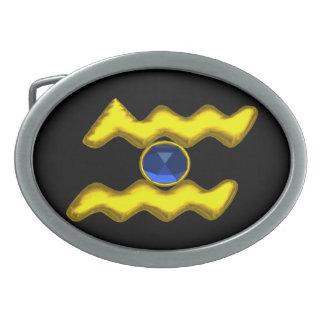 アクエリアスの/GOLDの(占星術の)十二宮図の誕生日の宝石 卵形バックル