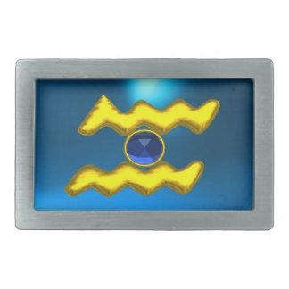 アクエリアスの/GOLDの(占星術の)十二宮図の誕生日の宝石 長方形ベルトバックル