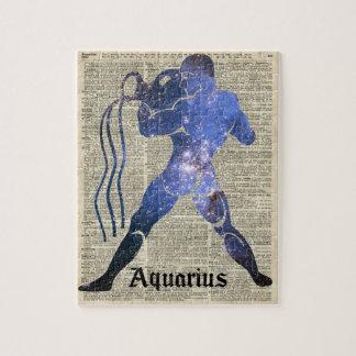 アクエリアス水(占星術の)十二宮図は古書のページに署名します ジグソーパズル