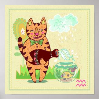 アクエリアス猫の(占星術の)十二宮図の子供部屋のプリント ポスター