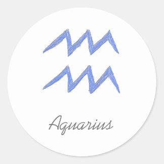 アクエリアス。 (占星術の)十二宮図の占星術の印。 青い ラウンドシール