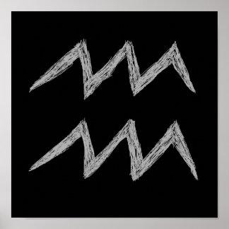 アクエリアス。 (占星術の)十二宮図の占星術の印。 黒 ポスター