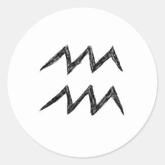 アクエリアス。 (占星術の)十二宮図の占星術の印。 黒 ラウンドシール