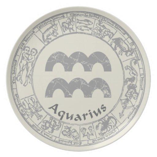 アクエリアス|(占星術の)十二宮図|印|ヴィンテージ パーティープレート