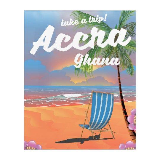 アクラガーナのビーチ旅行ポスター アクリルウォールアート