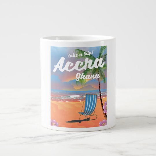 アクラガーナのビーチ旅行ポスター ジャンボコーヒーマグカップ
