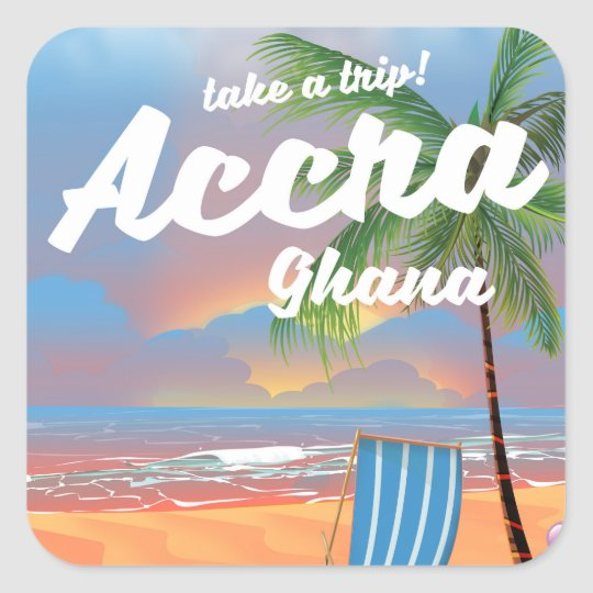 アクラガーナのビーチ旅行ポスター スクエアシール