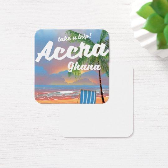 アクラガーナのビーチ旅行ポスター スクエア名刺
