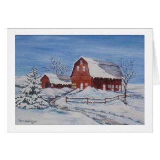 アクリルで絵を描かれる農場の冬 カード
