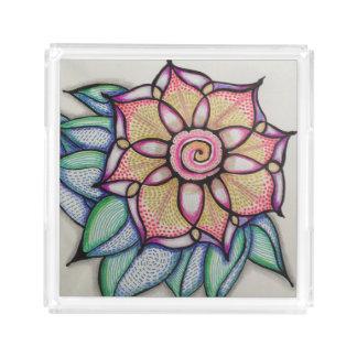 アクリルの皿、Sm w/Meditationの花のデザイン アクリルトレー