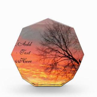 アクリルの秋の日没の写真のブロック 表彰盾