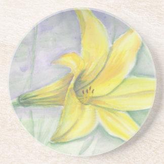 アクリルの黄色いユリの絵画 コースター
