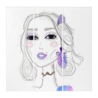 アクリルは女の子をelven: 紫色 トリプティカ