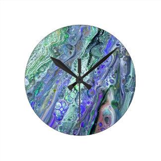 """""""アクリル#2""""は抽象美術の時計を注ぎます ラウンド壁時計"""