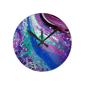 """""""アクリル#9""""は抽象美術の時計を注ぎます ラウンド壁時計"""
