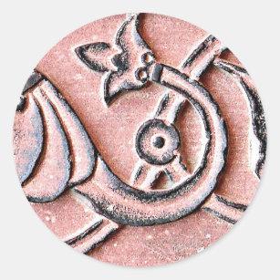 アグラの城砦の赤い砂岩の花 ラウンドシール