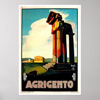 アグリジェントシシリーイタリア旅行芸術 ポスター