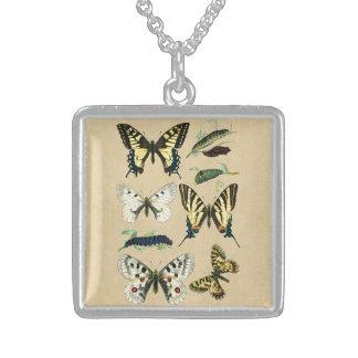 アゲハチョウの幼虫、蝶およびガ スターリングシルバーネックレス