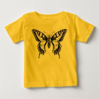 アゲハチョウの蝶インクスケッチのベビーのTシャツ ベビーTシャツ