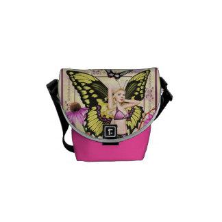 アゲハチョウの蝶妖精-ピンクおよび黄色のバッグ メッセンジャーバッグ