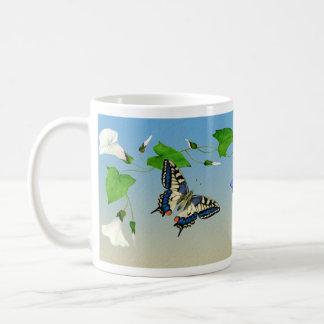 アゲハチョウの蝶朝顔のマグ コーヒーマグカップ