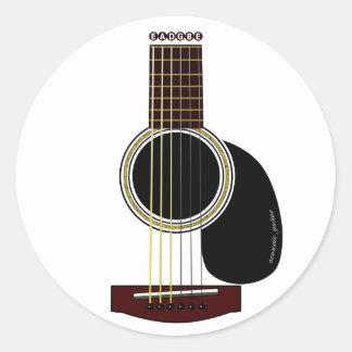 アコースティックギターのステッカー 丸形シールステッカー