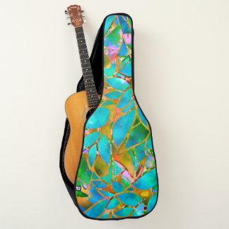アコースティックギターのバッグの花柄の抽象芸術のステンドグラス ギターケース