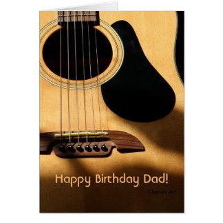 アコースティックギターの写真、ハッピーバースデーのパパ! カード