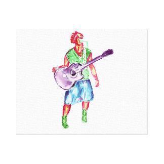 アコースティックギタープレーヤーの女性歌手のミュージシャン キャンバスプリント