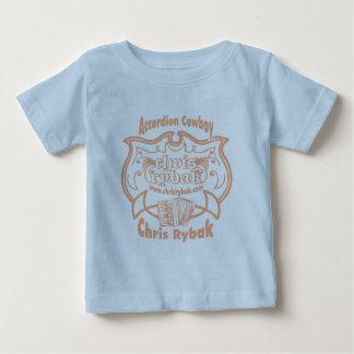 アコーディオンのカウボーイのロゴ-ピンクの杏子 ベビーTシャツ