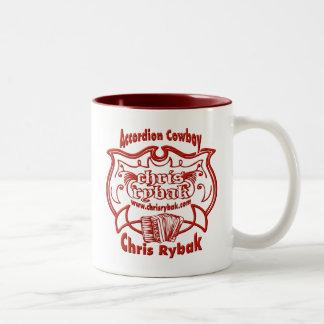 アコーディオンのカウボーイのロゴ-赤 ツートーンマグカップ