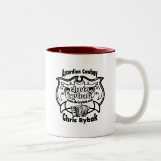 アコーディオンのカウボーイのロゴ-黒 ツートーンマグカップ