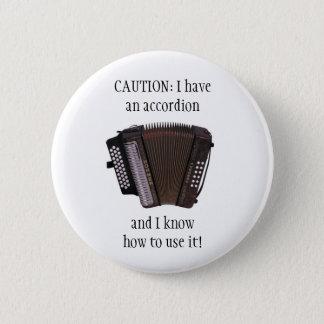 アコーディオンの注意ボタンまたはピンバッジ 5.7CM 丸型バッジ