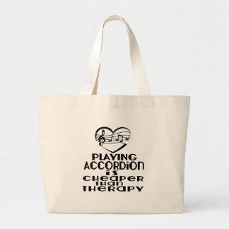 アコーディオンを遊ぶことはセラピーより安いです ラージトートバッグ
