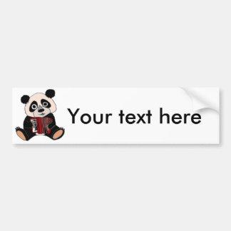 アコーディオンを遊んでいるおもしろいなパンダくま バンパーステッカー