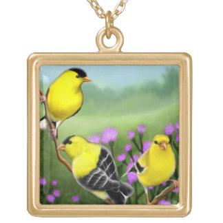 アザミのネックレスのアメリカのGoldfinches ゴールドプレートネックレス
