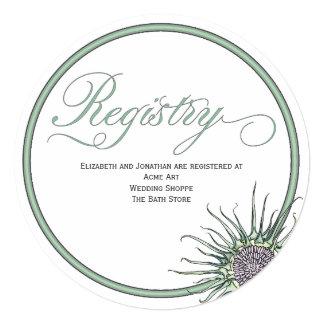アザミの花の円形の結婚式の登録カード 13.3 スクエアインビテーションカード
