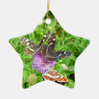 アザミの蝶 陶器製星型オーナメント