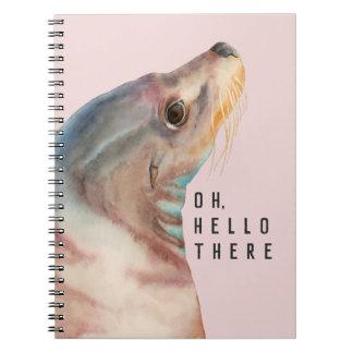 アシカのイラストレーションは|あなたのおもしろいな文字を加えます ノートブック