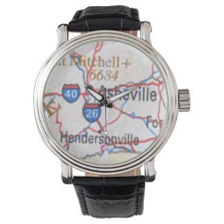 アシュビルおよびHendersonville NCの腕時計を示す地図 腕時計