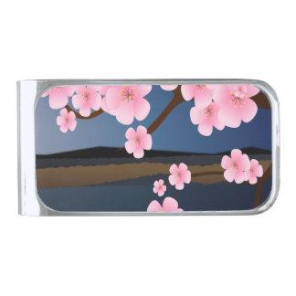 アジアのさくらんぼの開花 シルバー マネークリップ
