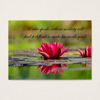 アジアのはすの花との孔子の引用文 名刺