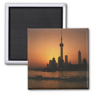 アジアの中国、東洋の真珠TVの上海の眺め マグネット
