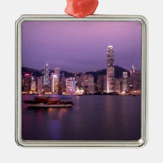 アジアの中国、香港の都市スカイライン メタルオーナメント