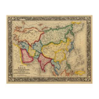 アジアの地図 ウッドウォールアート