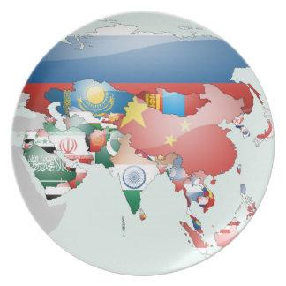 アジアの旗の地図 プレート