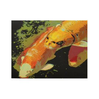 アジアコイの魚のコイの抽象美術 ウッドポスター
