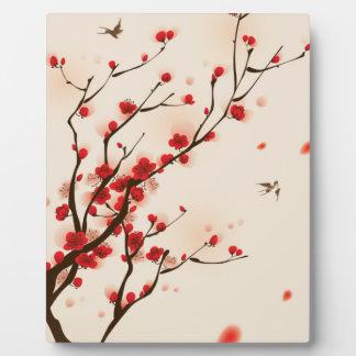 アジアスタイルの絵画、春のプラム花 フォトプラーク
