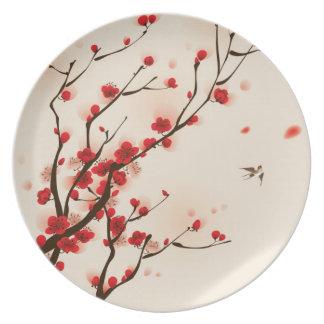 アジアスタイルの絵画、春のプラム花 プレート
