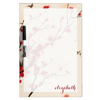 アジアスタイルの絵画、春のプラム花 ホワイトボード